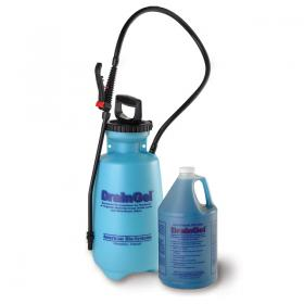 Draingel sprayer and gallon